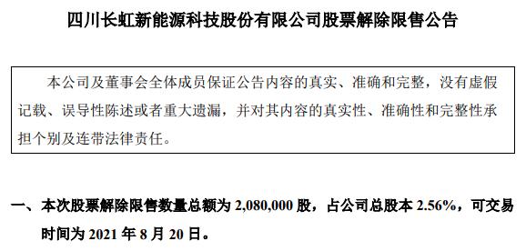 长虹能源晋层满半年 10名战投股份将解禁